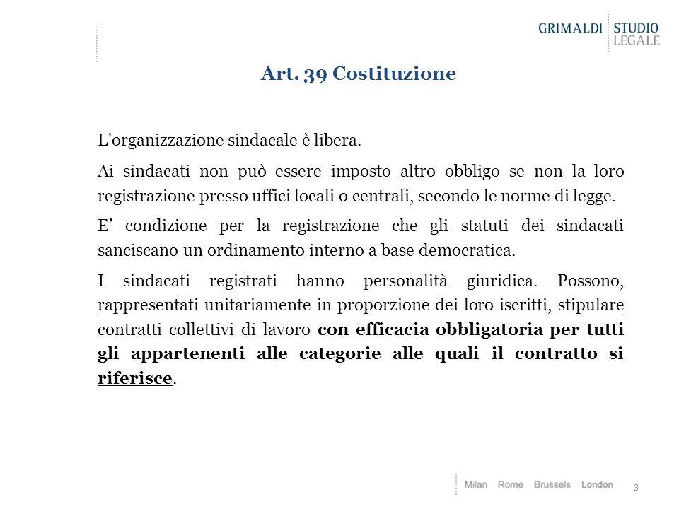 Art. 39 Costituzione L'organizzazione sindacale è libera. Ai sindacati non può essere imposto altro obbligo se non la loro registrazione presso uffici