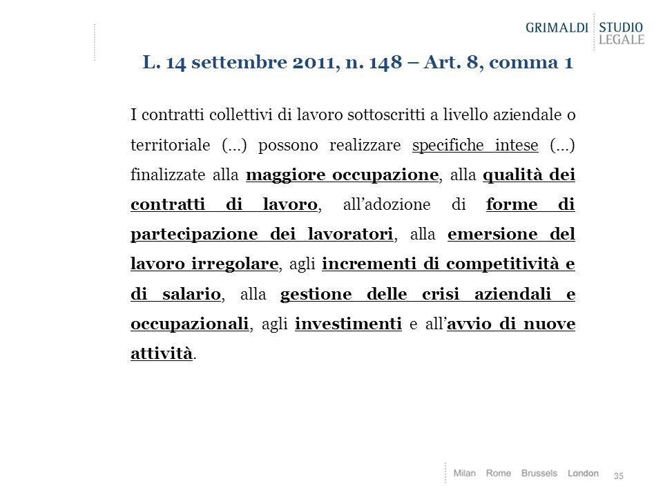 35 L. 14 settembre 2011, n. 148 – Art. 8, comma 1 I contratti collettivi di lavoro sottoscritti a livello aziendale o territoriale (…) possono realizz
