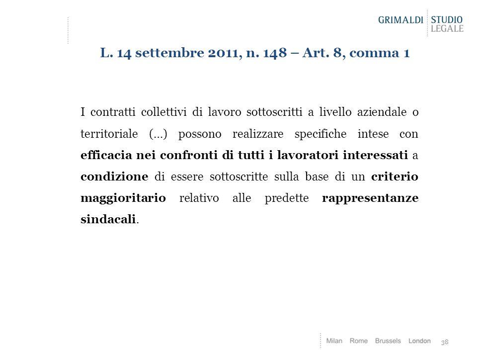 38 L. 14 settembre 2011, n. 148 – Art. 8, comma 1 I contratti collettivi di lavoro sottoscritti a livello aziendale o territoriale (…) possono realizz