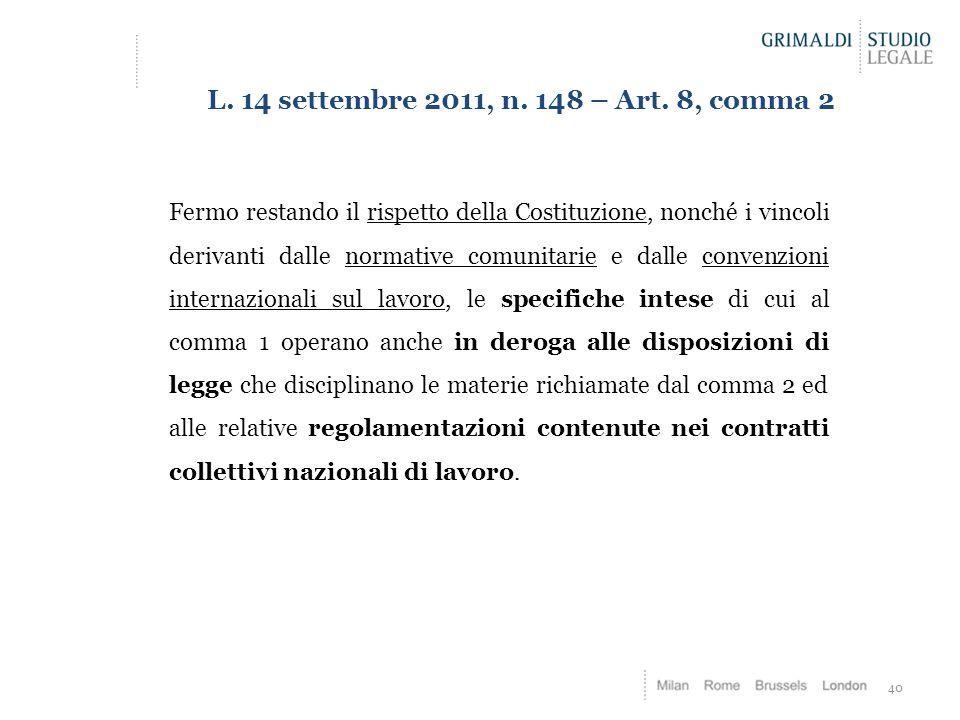 40 L.14 settembre 2011, n. 148 – Art.