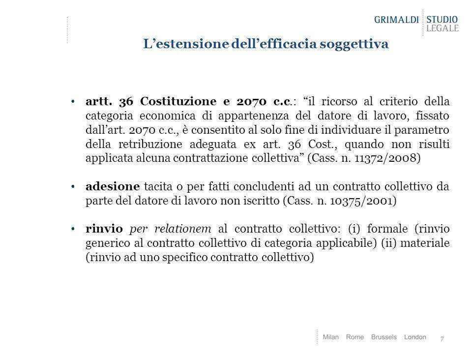"""L'estensione dell'efficacia soggettiva artt. 36 Costituzione e 2070 c.c.: """"il ricorso al criterio della categoria economica di appartenenza del datore"""