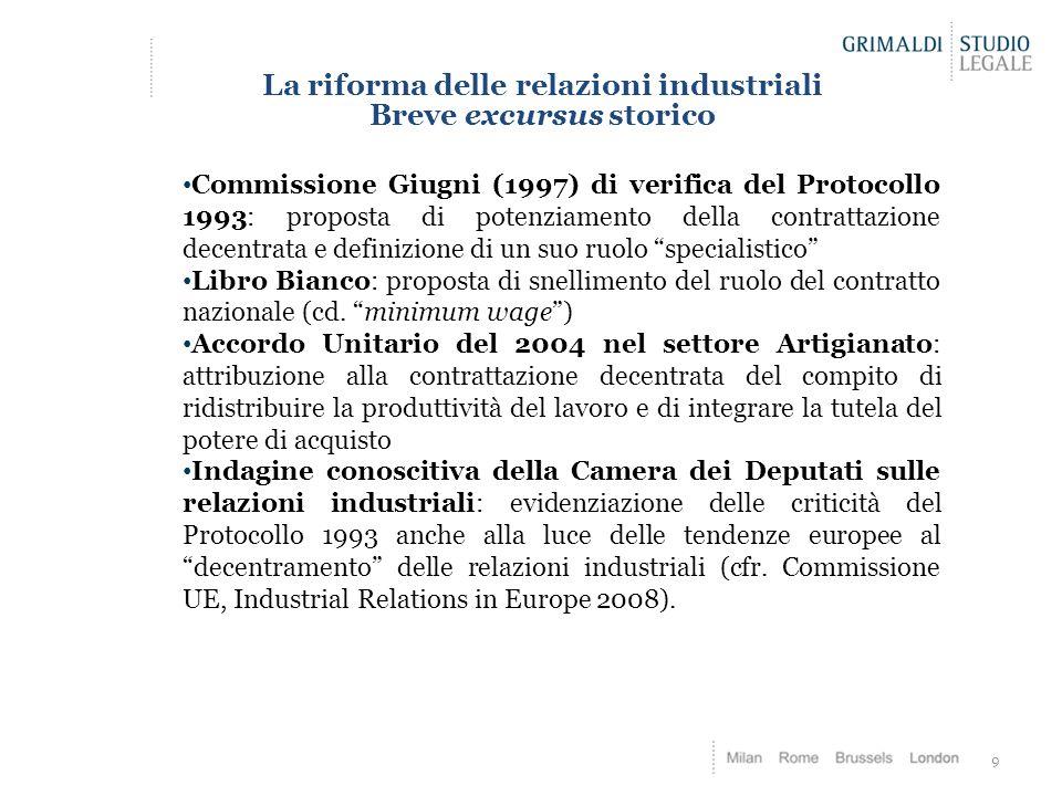 La riforma delle relazioni industriali Breve excursus storico 9 Commissione Giugni (1997) di verifica del Protocollo 1993: proposta di potenziamento d