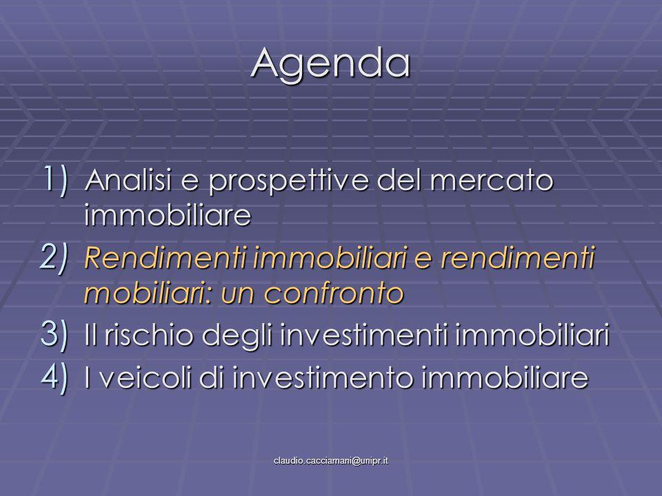 claudio.cacciamani@unipr.it Agenda 1) Analisi e prospettive del mercato immobiliare 2) Rendimenti immobiliari e rendimenti mobiliari: un confronto 3) Il rischio degli investimenti immobiliari 4) I veicoli di investimento immobiliare