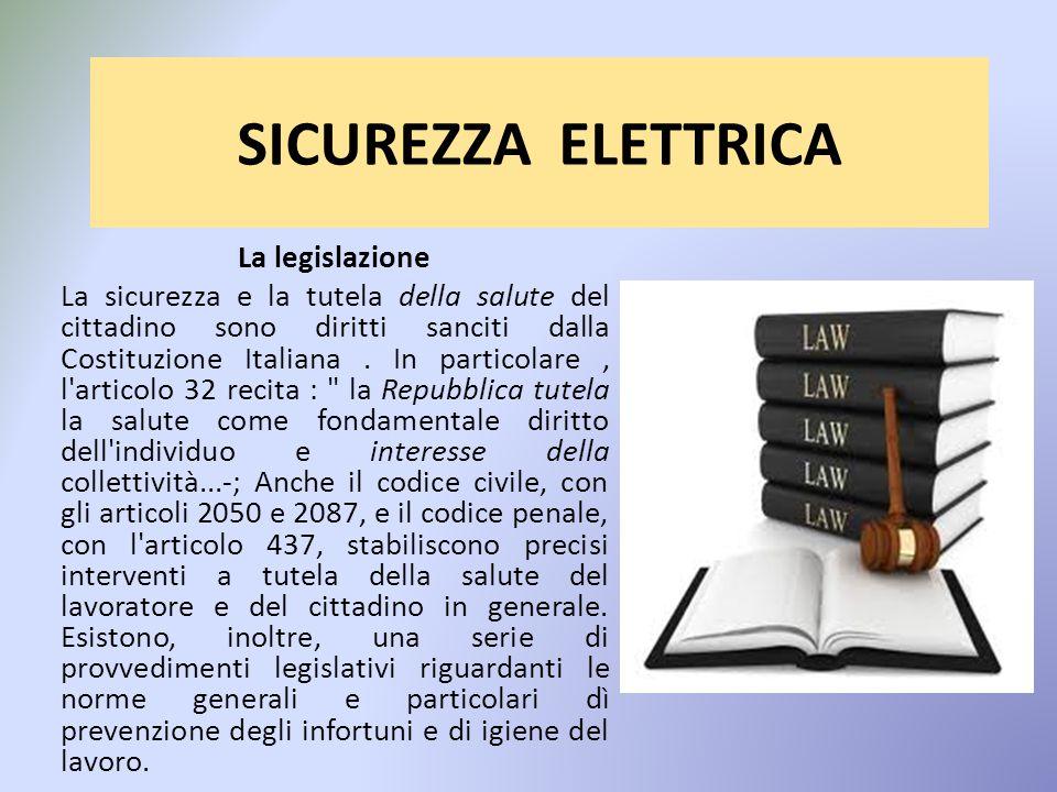 SICUREZZA ELETTRICA La legislazione La sicurezza e la tutela della salute del cittadino sono diritti sanciti dalla Costituzione Italiana.