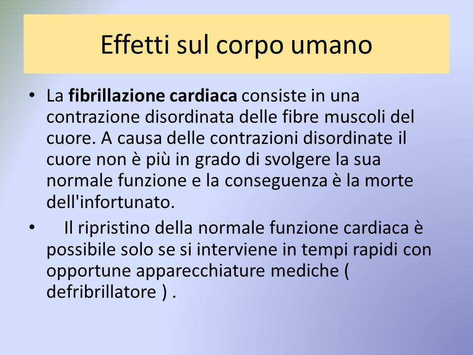 Effetti sul corpo umano La fibrillazione cardiaca consiste in una contrazione disordinata delle fibre muscoli del cuore.