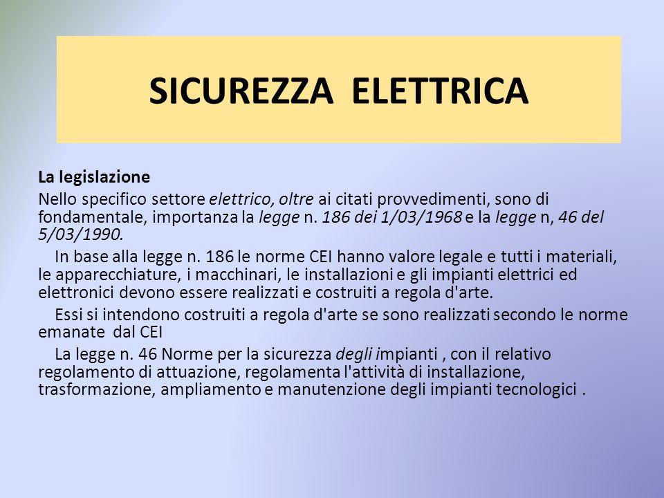 SICUREZZA ELETTRICA La legislazione Nello specifico settore elettrico, oltre ai citati provvedimenti, sono di fondamentale, importanza la legge n.