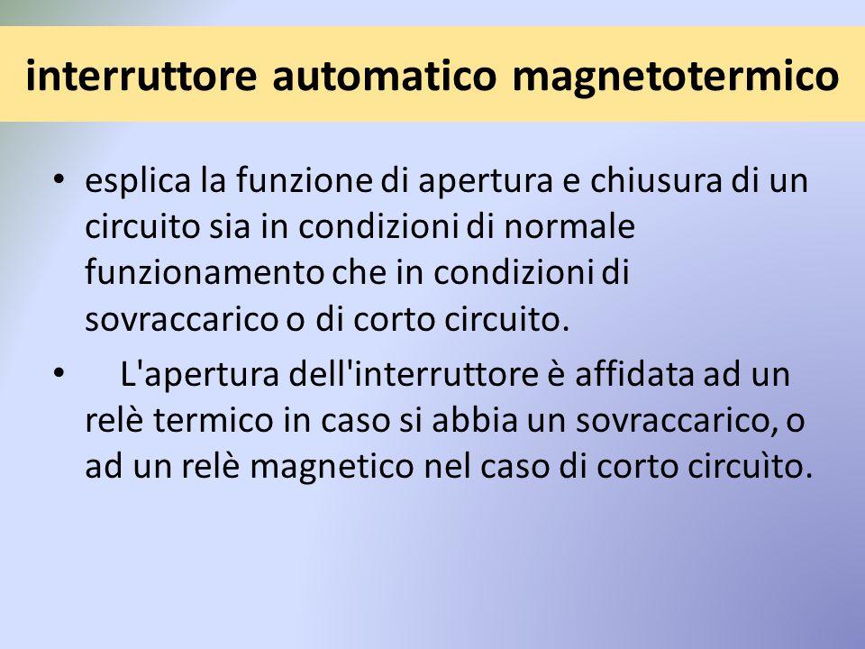 interruttore automatico magnetotermico esplica la funzione di apertura e chiusura di un circuito sia in condizioni di normale funzionamento che in condizioni di sovraccarico o di corto circuito.