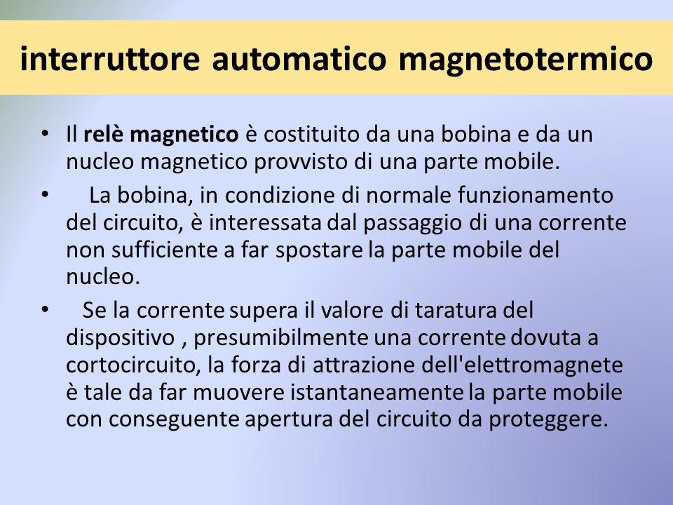 interruttore automatico magnetotermico Il relè magnetico è costituito da una bobina e da un nucleo magnetico provvisto di una parte mobile.