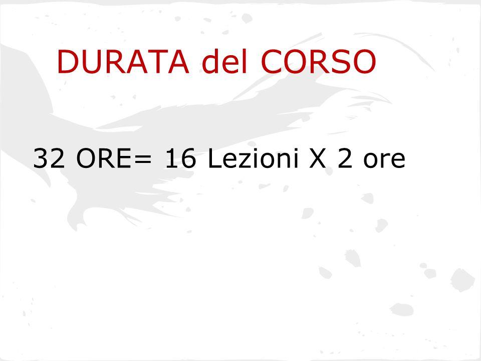 DURATA del CORSO 32 ORE= 16 Lezioni X 2 ore