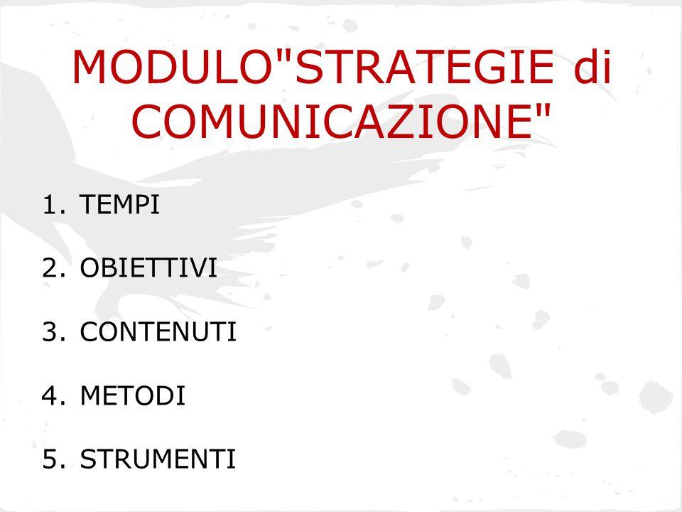 MODULO STRATEGIE di COMUNICAZIONE 1.TEMPI 2.OBIETTIVI 3.CONTENUTI 4.METODI 5.STRUMENTI