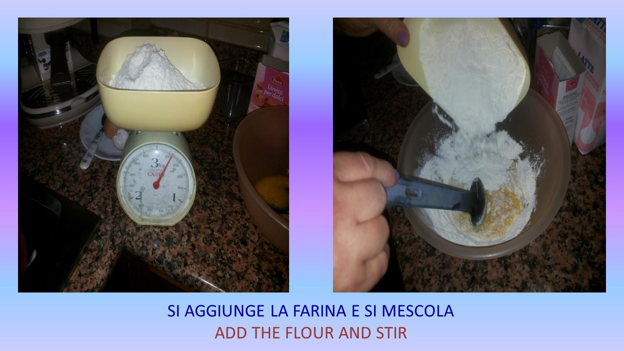 SI METTE IL LATTE E SI MESCOLA ADD THE MILK AND STIR