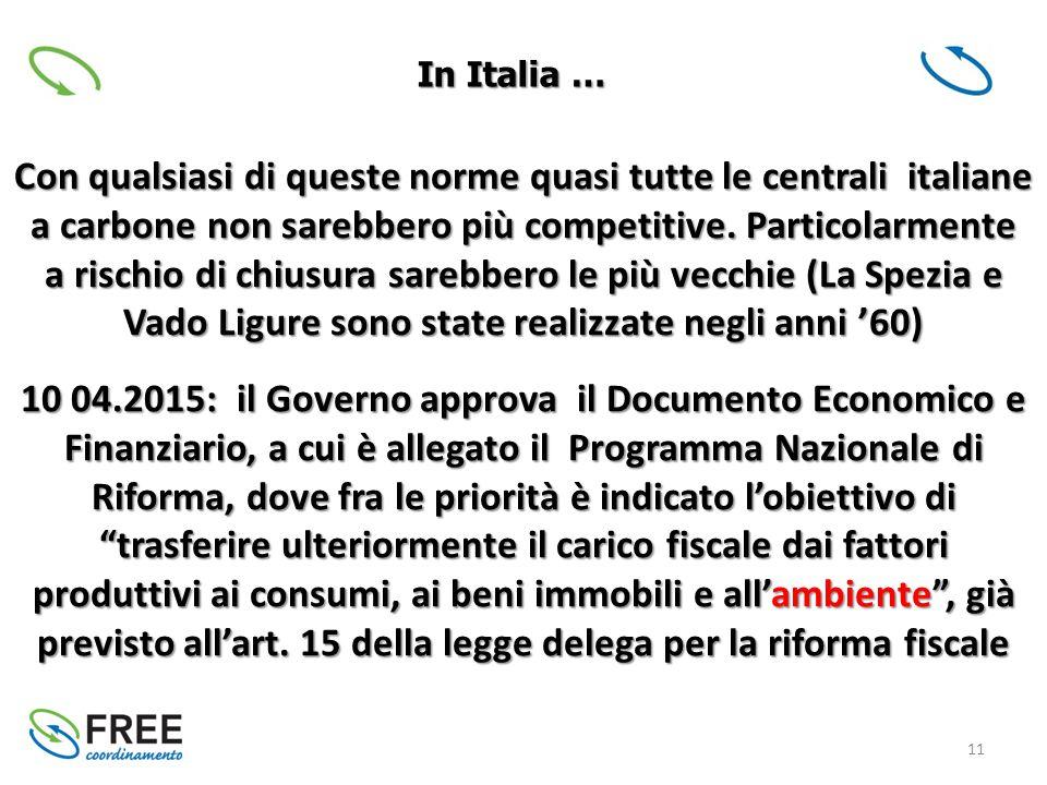 11 Con qualsiasi di queste norme quasi tutte le centrali italiane a carbone non sarebbero più competitive.