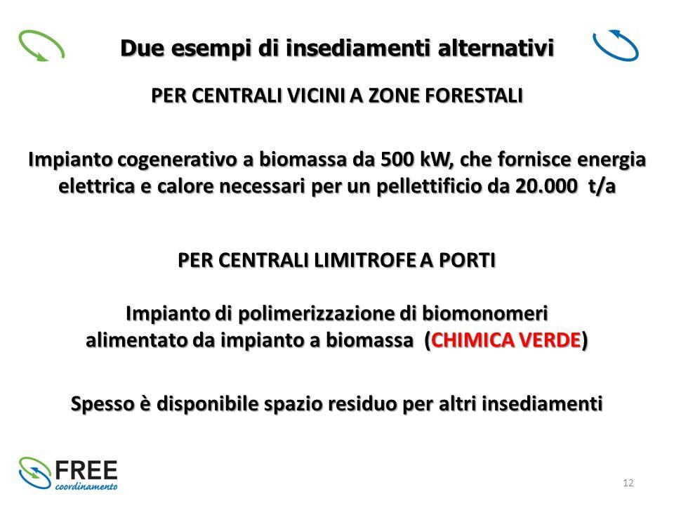 12 Due esempi di insediamenti alternativi PER CENTRALI VICINI A ZONE FORESTALI Impianto cogenerativo a biomassa da 500 kW, che fornisce energia elettrica e calore necessari per un pellettificio da 20.000 t/a PER CENTRALI LIMITROFE A PORTI Impianto di polimerizzazione di biomonomeri alimentato da impianto a biomassa (CHIMICA VERDE) Spesso è disponibile spazio residuo per altri insediamenti
