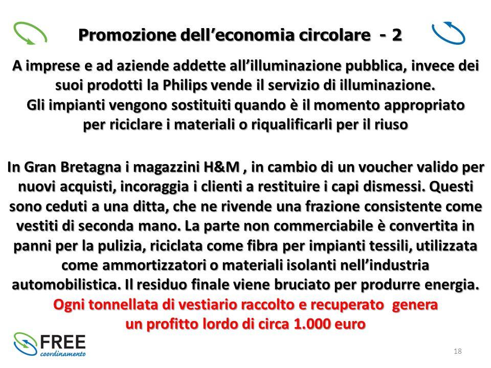 18 Promozione dell'economia circolare - 2 A imprese e ad aziende addette all'illuminazione pubblica, invece dei suoi prodotti la Philips vende il servizio di illuminazione.