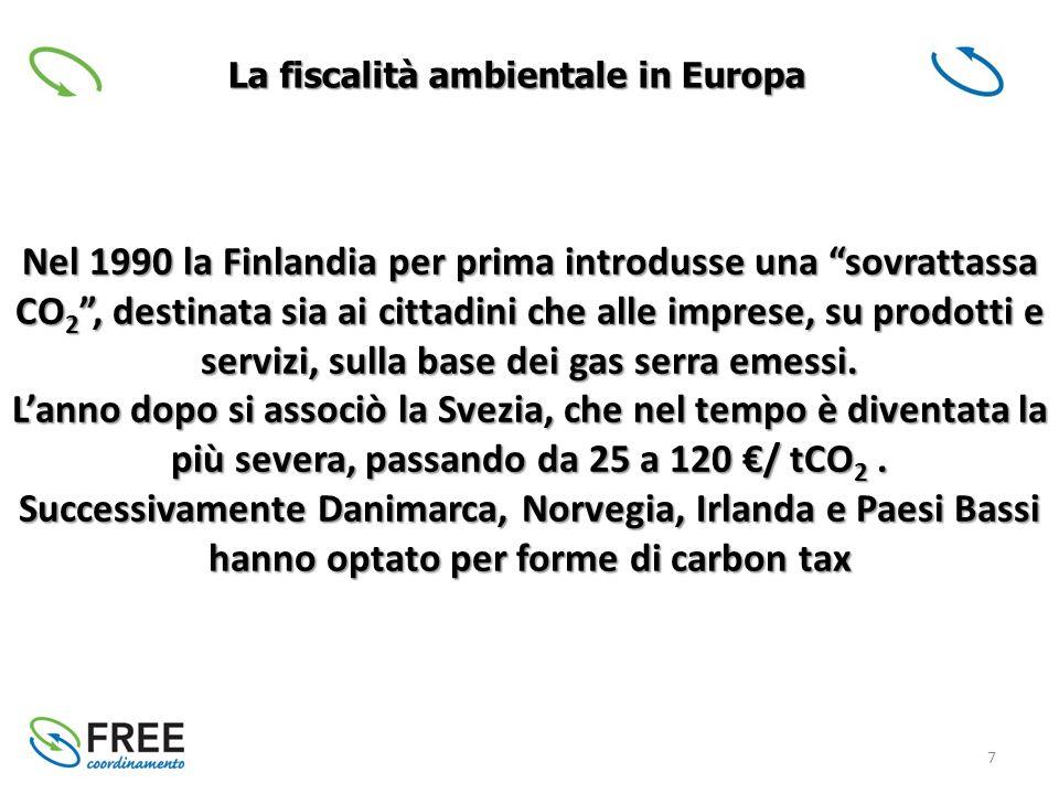 7 La fiscalità ambientale in Europa Nel 1990 la Finlandia per prima introdusse una sovrattassa CO 2 , destinata sia ai cittadini che alle imprese, su prodotti e servizi, sulla base dei gas serra emessi.