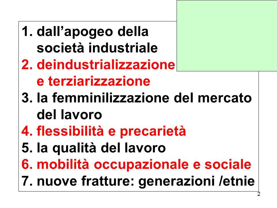 1.dall'apogeo della società industriale 2. deindustrializzazione e terziarizzazione 3.