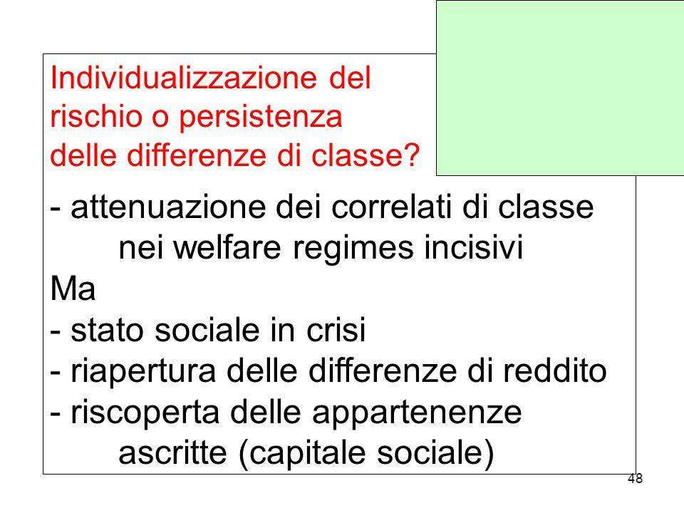 Individualizzazione del rischio o persistenza delle differenze di classe.