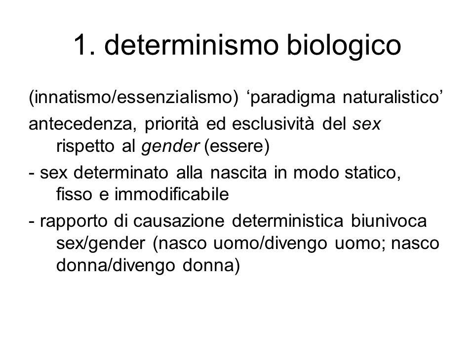 1. determinismo biologico (innatismo/essenzialismo) 'paradigma naturalistico' antecedenza, priorità ed esclusività del sex rispetto al gender (essere)