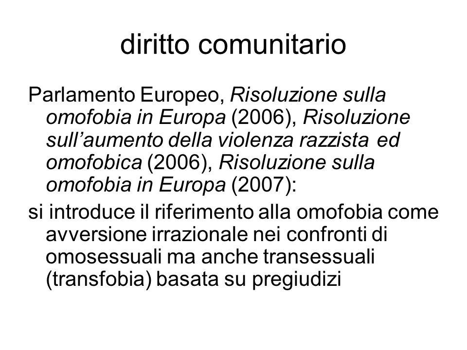 diritto comunitario Parlamento Europeo, Risoluzione sulla omofobia in Europa (2006), Risoluzione sull'aumento della violenza razzista ed omofobica (20