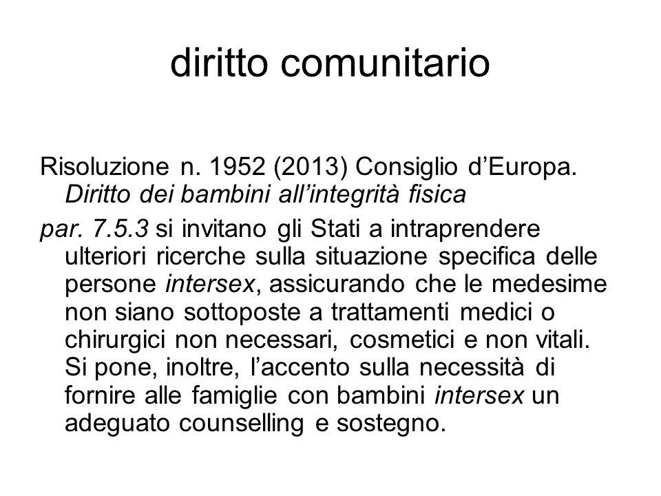 diritto comunitario Risoluzione n. 1952 (2013) Consiglio d'Europa. Diritto dei bambini all'integrità fisica par. 7.5.3 si invitano gli Stati a intrapr