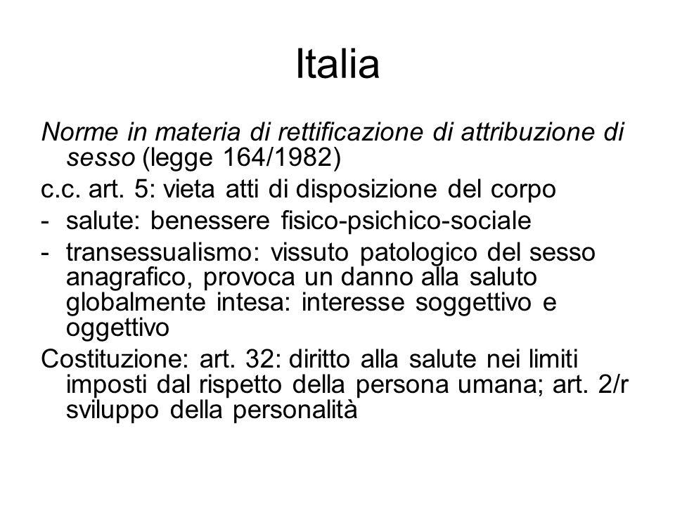Italia Norme in materia di rettificazione di attribuzione di sesso (legge 164/1982) c.c. art. 5: vieta atti di disposizione del corpo -salute: benesse