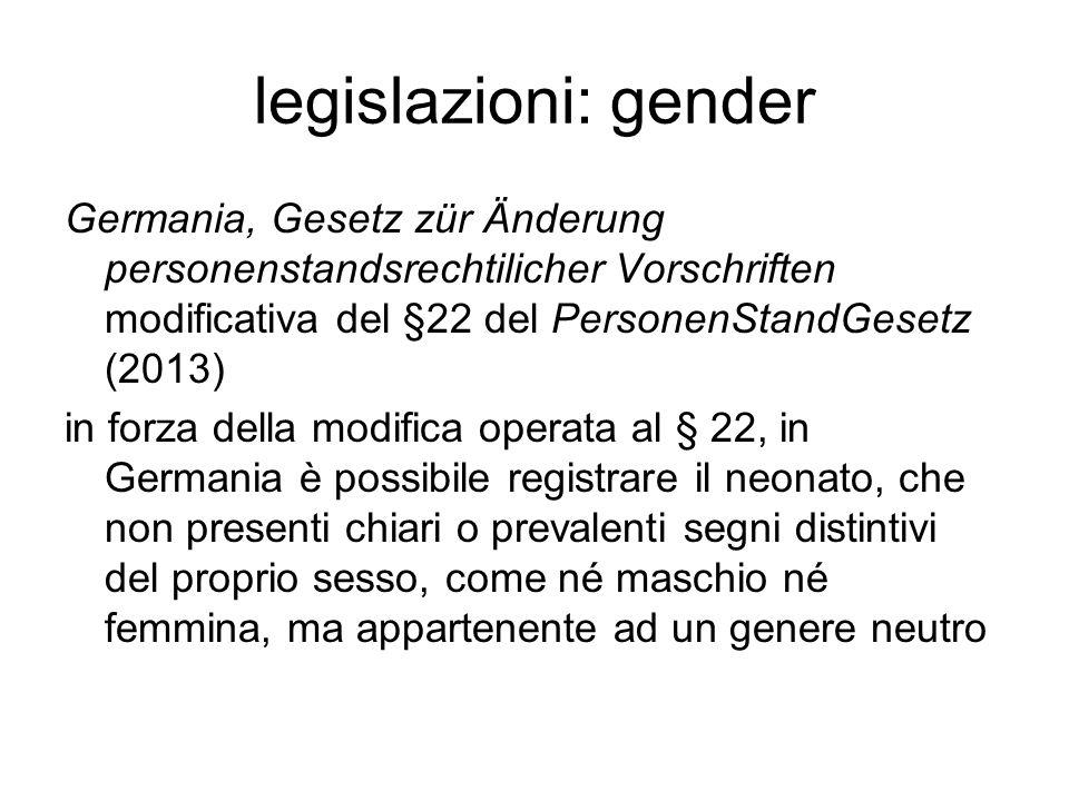 legislazioni: gender Germania, Gesetz zür Änderung personenstandsrechtilicher Vorschriften modificativa del §22 del PersonenStandGesetz (2013) in forz