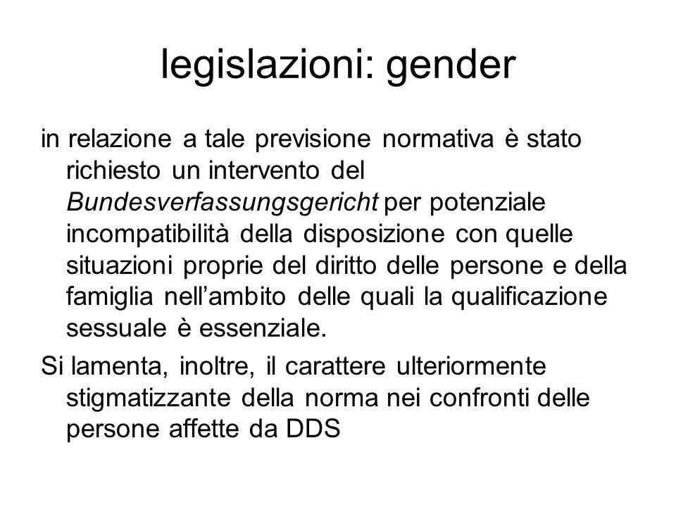 legislazioni: gender in relazione a tale previsione normativa è stato richiesto un intervento del Bundesverfassungsgericht per potenziale incompatibil