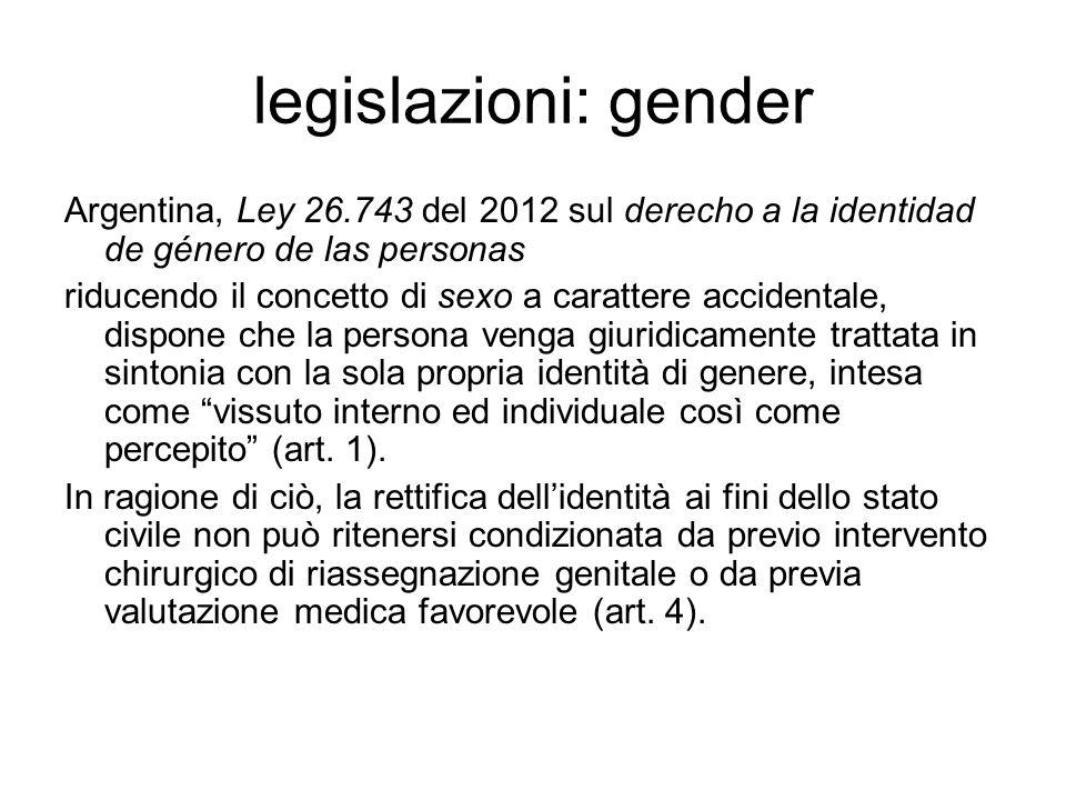 legislazioni: gender Argentina, Ley 26.743 del 2012 sul derecho a la identidad de género de las personas riducendo il concetto di sexo a carattere acc