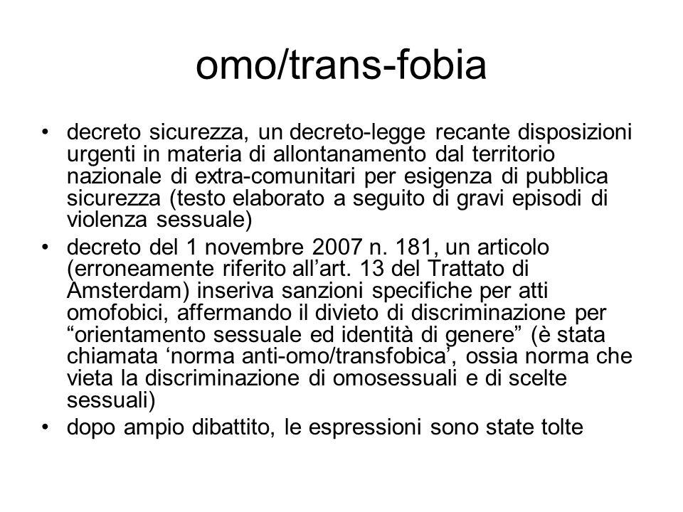 omo/trans-fobia decreto sicurezza, un decreto-legge recante disposizioni urgenti in materia di allontanamento dal territorio nazionale di extra-comuni