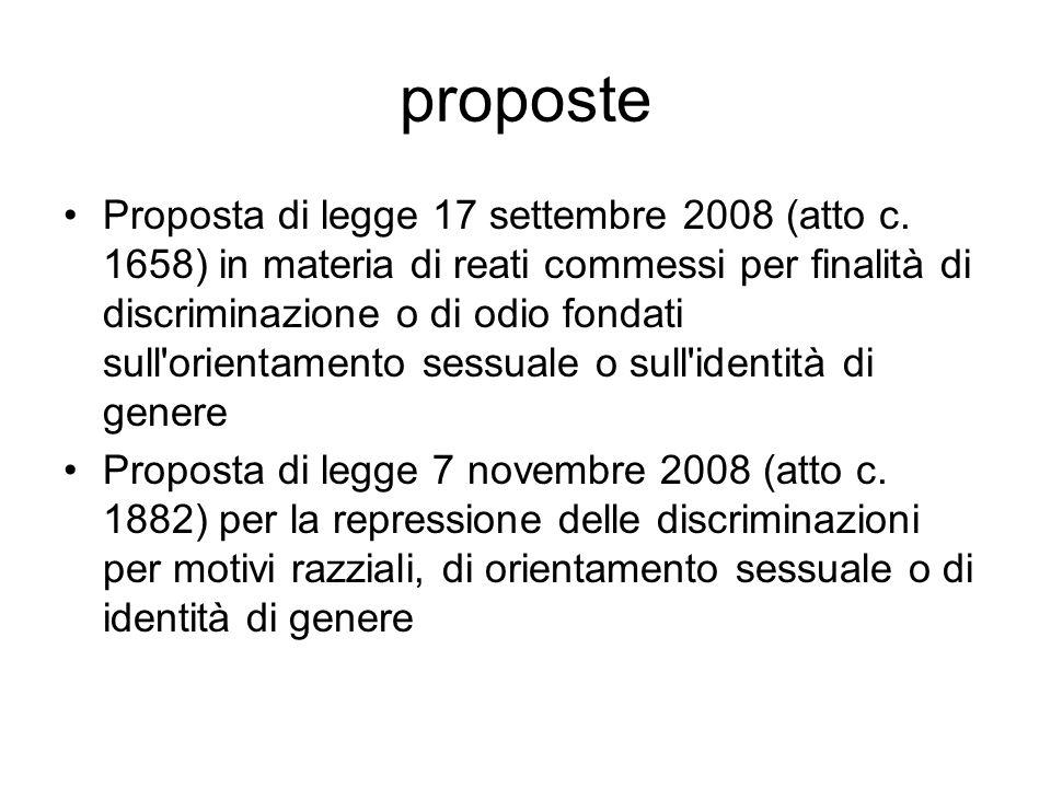 proposte Proposta di legge 17 settembre 2008 (atto c. 1658) in materia di reati commessi per finalità di discriminazione o di odio fondati sull'orient