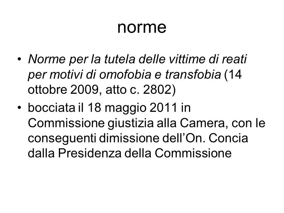 norme Norme per la tutela delle vittime di reati per motivi di omofobia e transfobia (14 ottobre 2009, atto c. 2802) bocciata il 18 maggio 2011 in Com