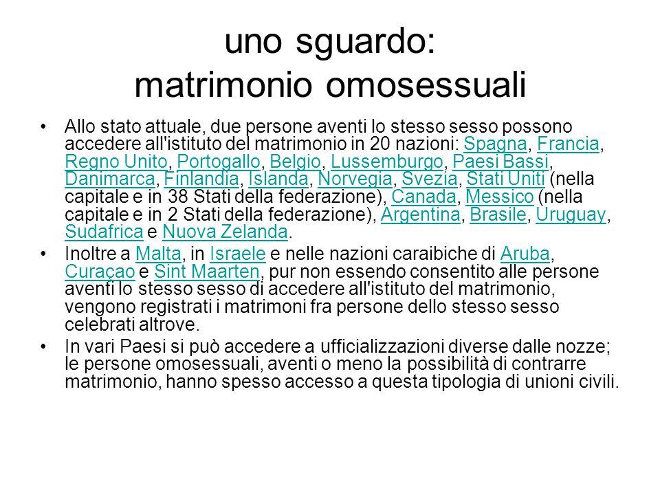 uno sguardo: matrimonio omosessuali Allo stato attuale, due persone aventi lo stesso sesso possono accedere all'istituto del matrimonio in 20 nazioni: