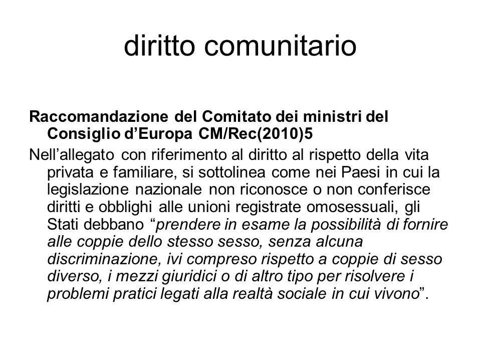 diritto comunitario Raccomandazione del Comitato dei ministri del Consiglio d'Europa CM/Rec(2010)5 Nell'allegato con riferimento al diritto al rispett