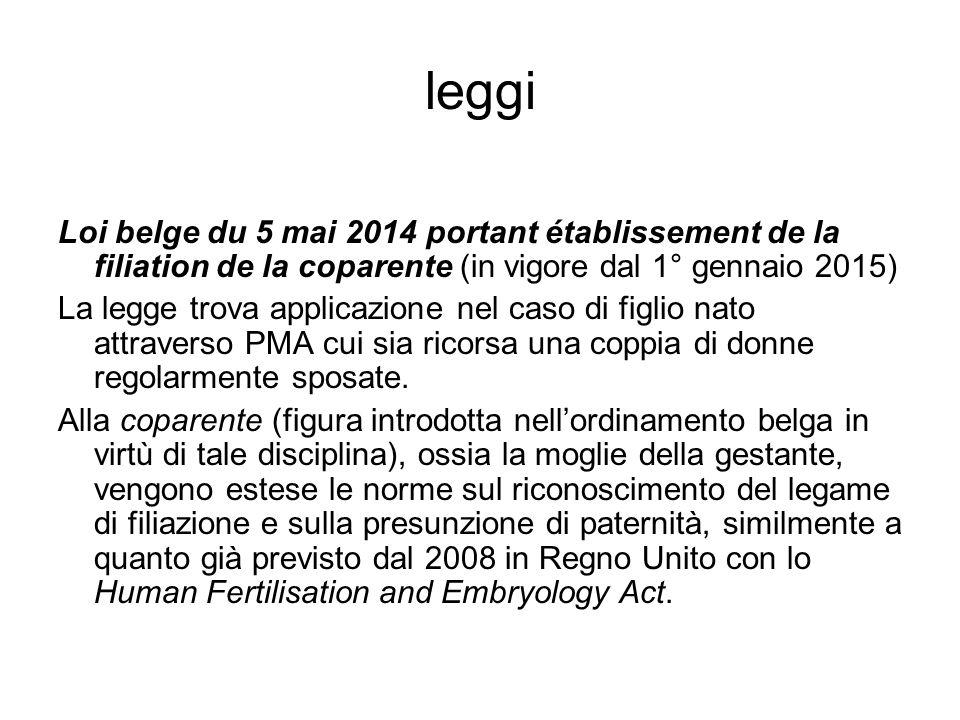 leggi Loi belge du 5 mai 2014 portant établissement de la filiation de la coparente (in vigore dal 1° gennaio 2015) La legge trova applicazione nel ca
