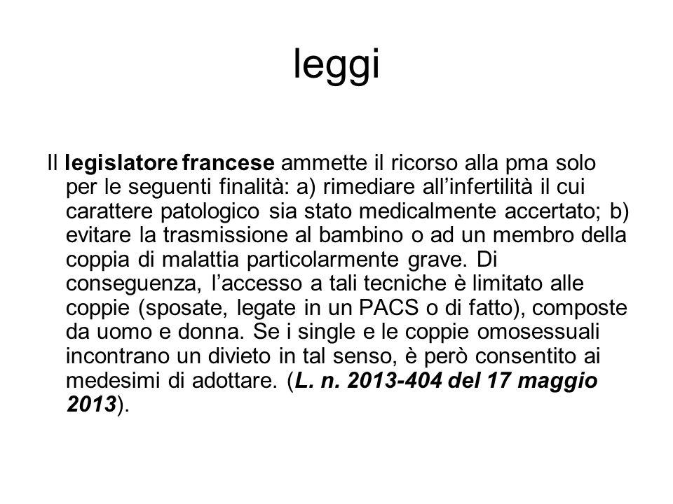 leggi Il legislatore francese ammette il ricorso alla pma solo per le seguenti finalità: a) rimediare all'infertilità il cui carattere patologico sia