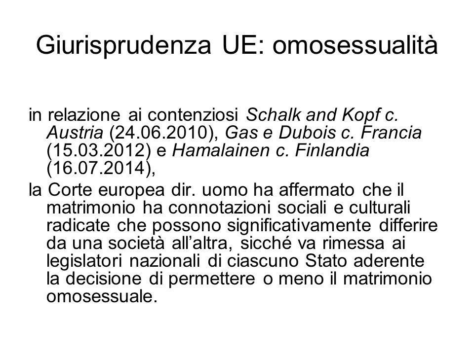 Giurisprudenza UE: omosessualità in relazione ai contenziosi Schalk and Kopf c. Austria (24.06.2010), Gas e Dubois c. Francia (15.03.2012) e Hamalaine