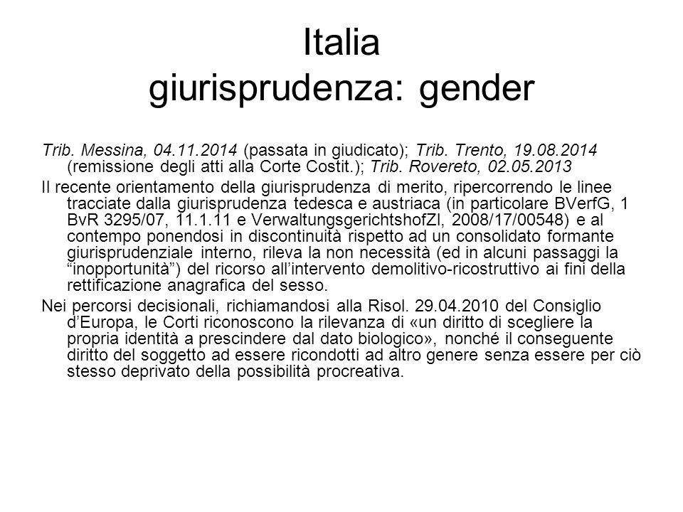 Italia giurisprudenza: gender Trib. Messina, 04.11.2014 (passata in giudicato); Trib. Trento, 19.08.2014 (remissione degli atti alla Corte Costit.); T