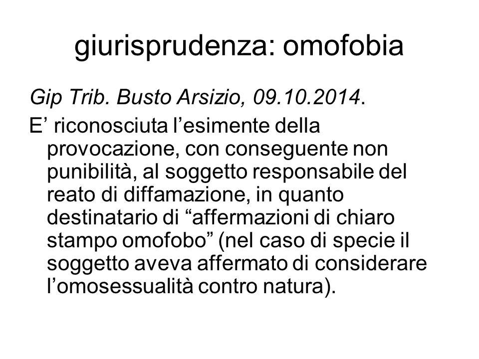 giurisprudenza: omofobia Gip Trib. Busto Arsizio, 09.10.2014. E' riconosciuta l'esimente della provocazione, con conseguente non punibilità, al sogget
