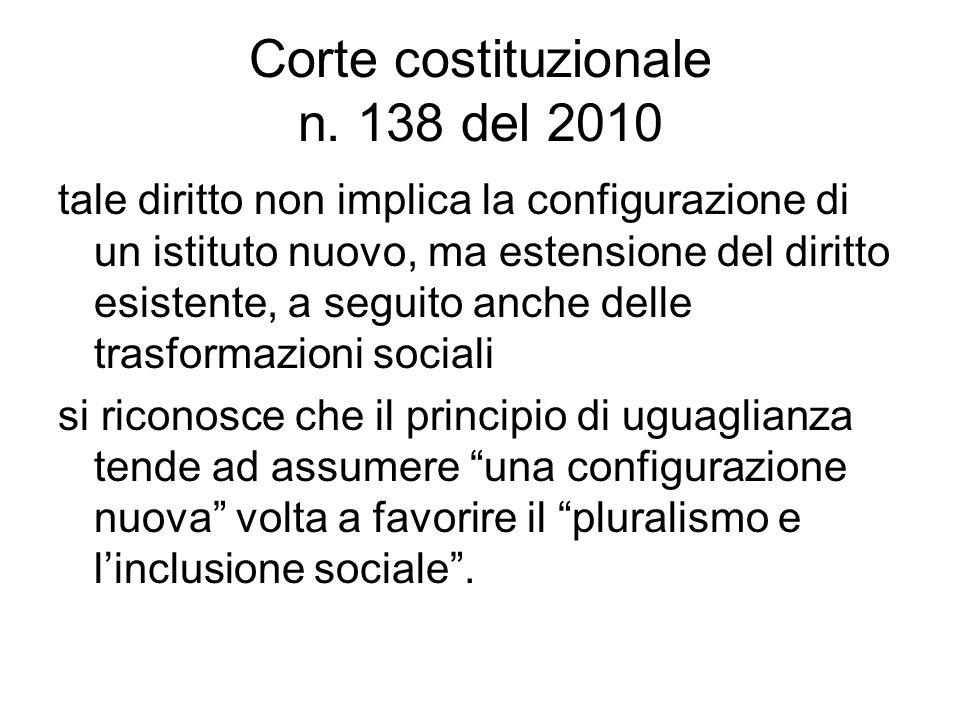 Corte costituzionale n. 138 del 2010 tale diritto non implica la configurazione di un istituto nuovo, ma estensione del diritto esistente, a seguito a