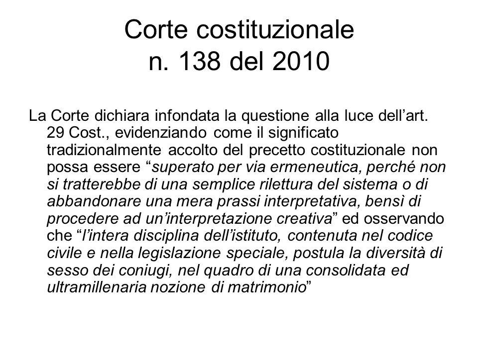 Corte costituzionale n. 138 del 2010 La Corte dichiara infondata la questione alla luce dell'art. 29 Cost., evidenziando come il significato tradizion