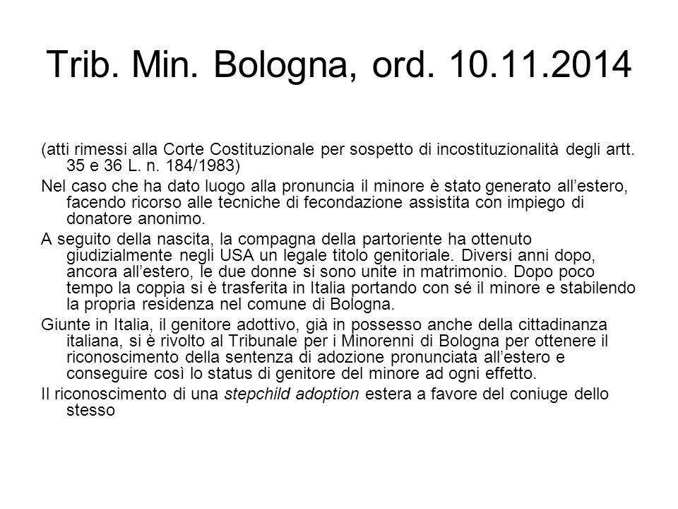 Trib. Min. Bologna, ord. 10.11.2014 (atti rimessi alla Corte Costituzionale per sospetto di incostituzionalità degli artt. 35 e 36 L. n. 184/1983) Nel