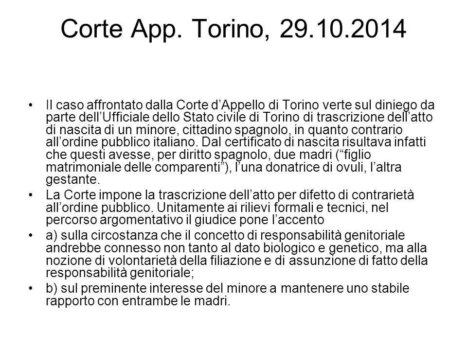 Corte App. Torino, 29.10.2014 Il caso affrontato dalla Corte d'Appello di Torino verte sul diniego da parte dell'Ufficiale dello Stato civile di Torin