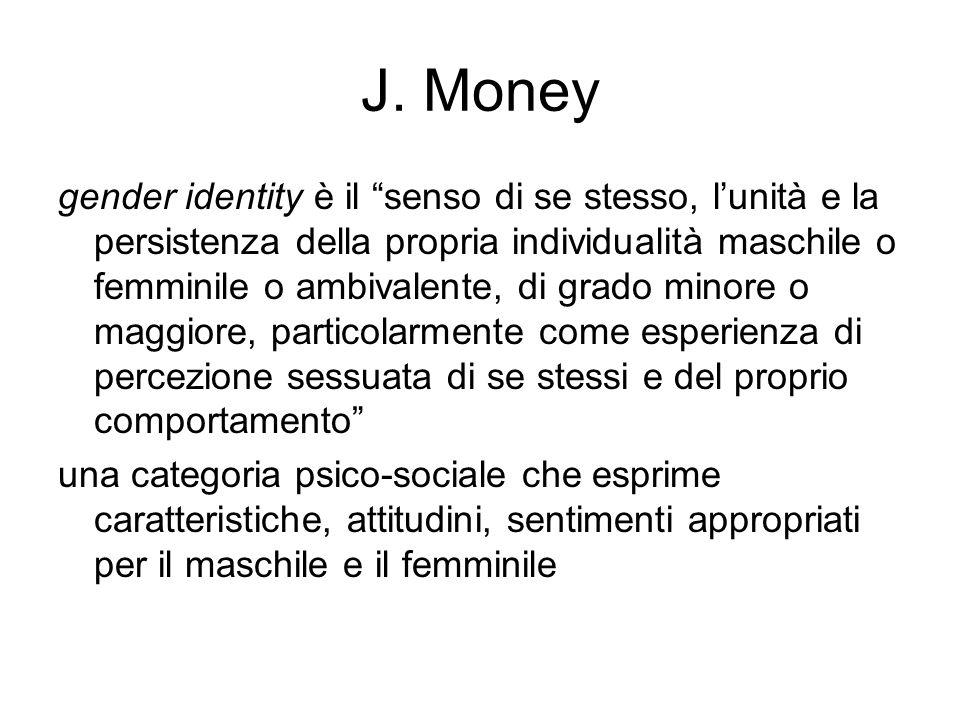"""J. Money gender identity è il """"senso di se stesso, l'unità e la persistenza della propria individualità maschile o femminile o ambivalente, di grado m"""