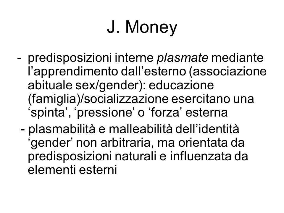 J. Money -predisposizioni interne plasmate mediante l'apprendimento dall'esterno (associazione abituale sex/gender): educazione (famiglia)/socializzaz