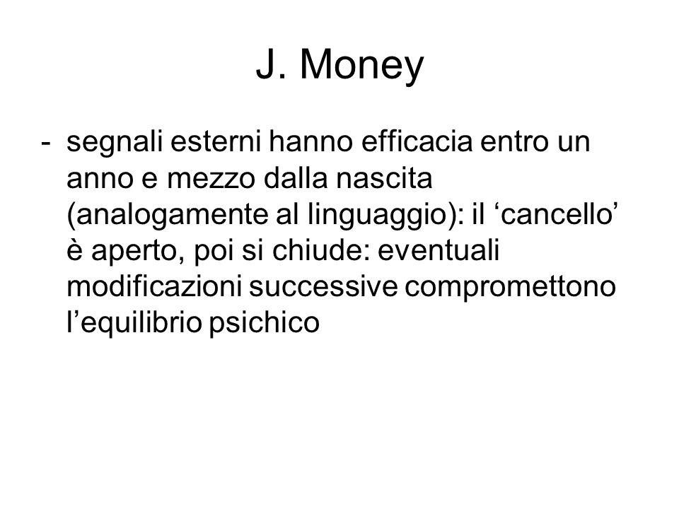J. Money -segnali esterni hanno efficacia entro un anno e mezzo dalla nascita (analogamente al linguaggio): il 'cancello' è aperto, poi si chiude: eve