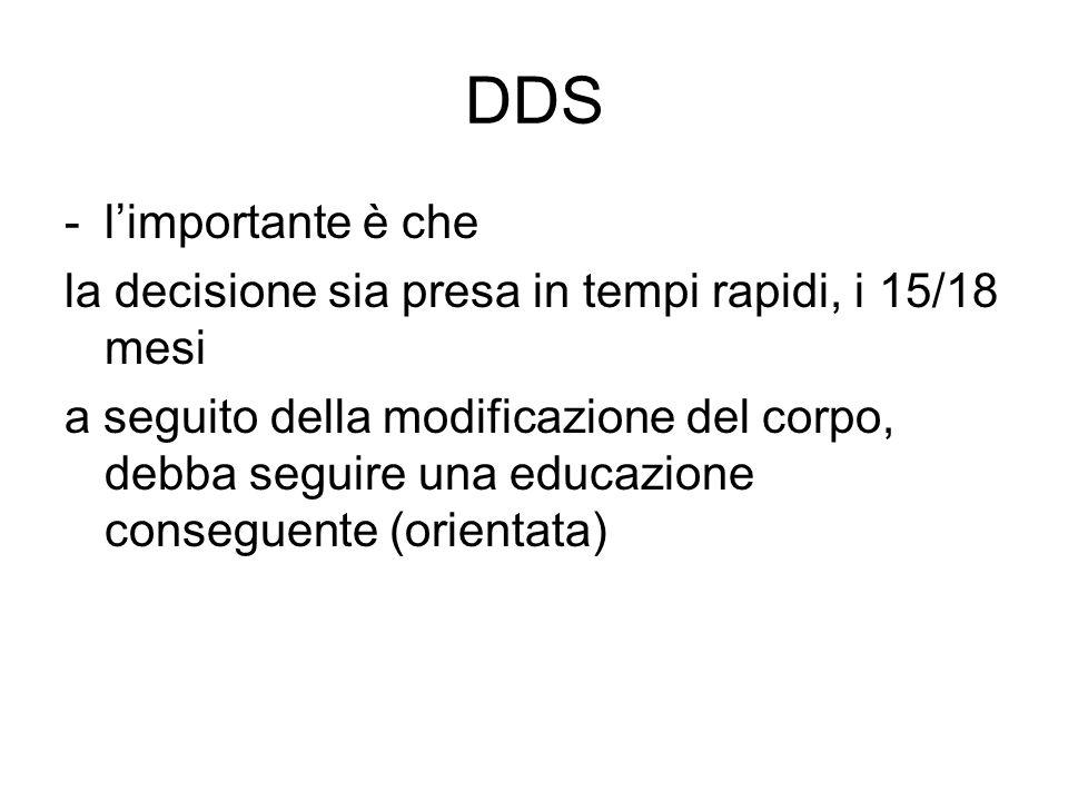 DDS -l'importante è che la decisione sia presa in tempi rapidi, i 15/18 mesi a seguito della modificazione del corpo, debba seguire una educazione con