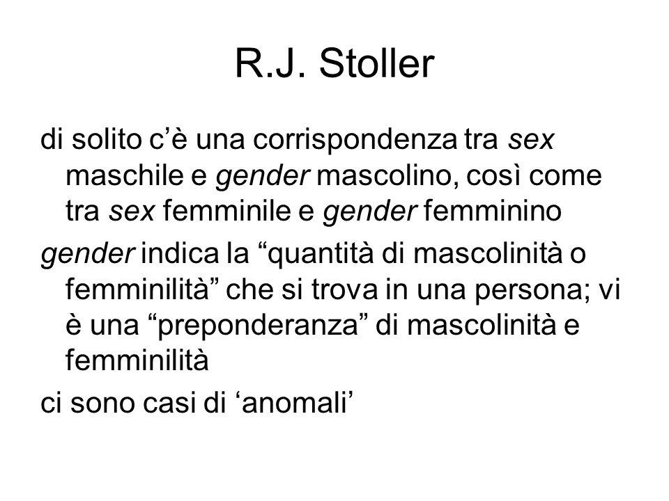 """R.J. Stoller di solito c'è una corrispondenza tra sex maschile e gender mascolino, così come tra sex femminile e gender femminino gender indica la """"qu"""
