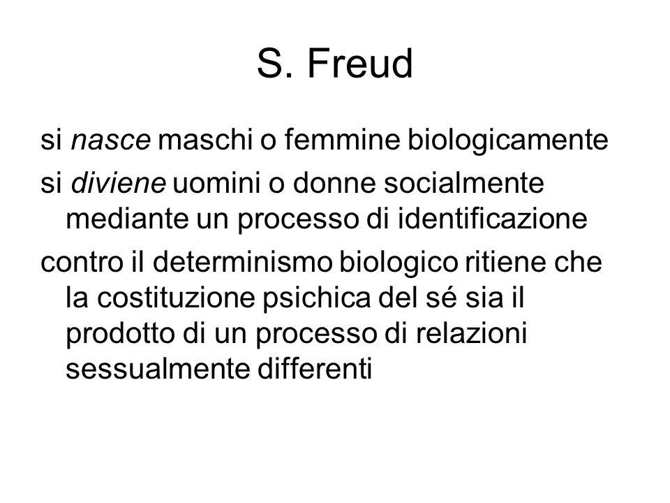 S. Freud si nasce maschi o femmine biologicamente si diviene uomini o donne socialmente mediante un processo di identificazione contro il determinismo