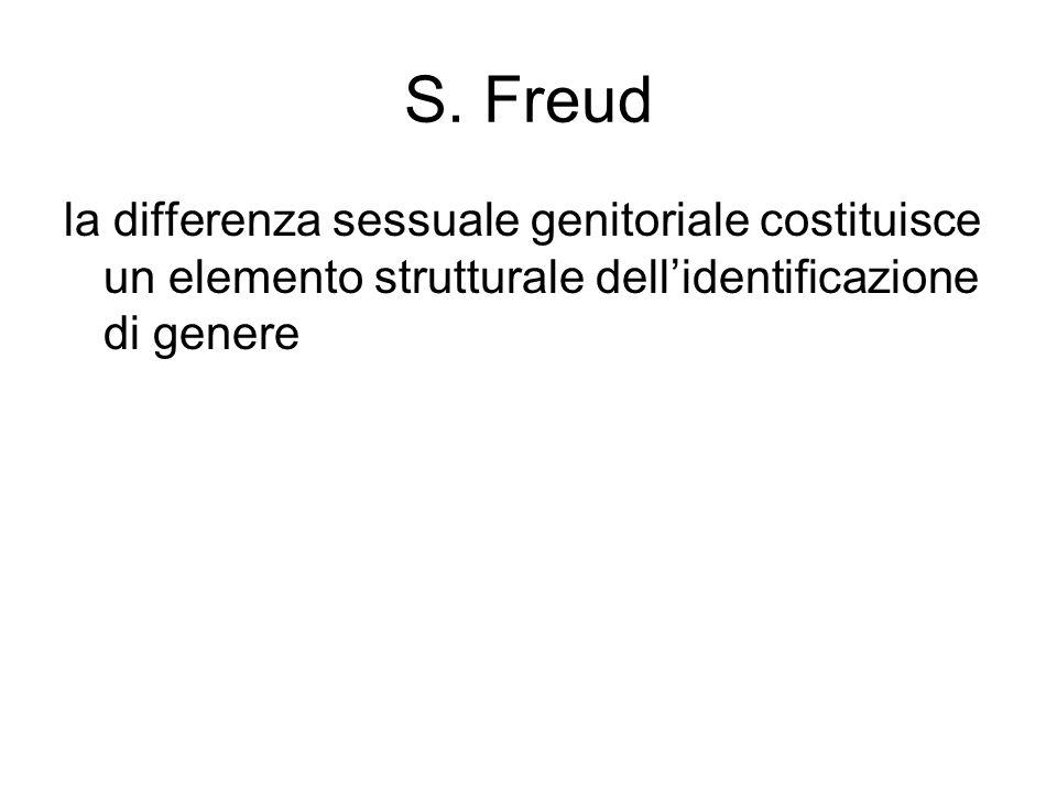 S. Freud la differenza sessuale genitoriale costituisce un elemento strutturale dell'identificazione di genere