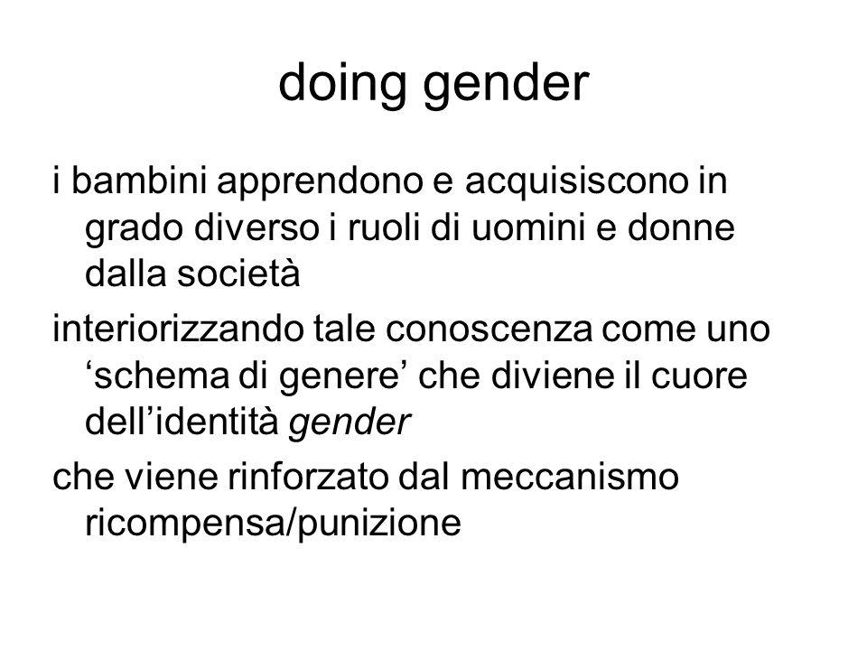 doing gender i bambini apprendono e acquisiscono in grado diverso i ruoli di uomini e donne dalla società interiorizzando tale conoscenza come uno 'sc